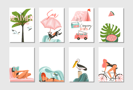 Hand drawn vector abstract graphic cartoon summer time flat illustrations cards template collection set with beach people,camping and bike,palm tree and tropical birds isolated on white background.