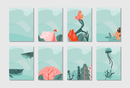 Hand drawn vector abstract graphic cartoon summer time flat illustrations cards template collection set with mermaid, whale and tropical underwater world isolated on blue waves background.