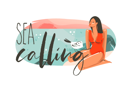 Hand drawn vector abstract cartoon summer time graphic hawaii illustrations art template background logo design with ocean beach landscape,pink sunset and beauty girl with Sea calling typography text. Ilustração