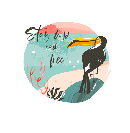 Hand drawn vector abstract cartoon summer time graphic illustrations template background badge design with ocean beach landscape,sunset and beauty toucan bird with Stay wild and free typography text.  イラスト・ベクター素材