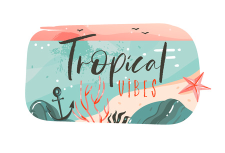 Hand drawn vector abstract cartoon summer time graphic illustrations art template banner badge background with ocean beach landscape,pink sunset view with Tropical Vibes typography quote.