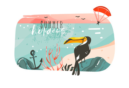 Hand drawn vector abstract cartoon summer time graphic illustrations art template banner background with ocean beach landscape,pink sunset view,beauty toucan with Summer Holidays typography quote.