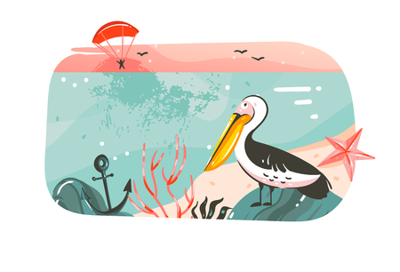 Hand drawn vector abstract cartoon summer time graphic illustrations banner background with ocean beach landscape,pink sunset view,pelican bird with copy space place for your text isolated on white
