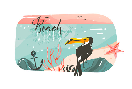 Hand drawn vector abstract cartoon summer time graphic illustrations art template banner background with ocean beach landscape,pink sunset view,beauty toucan with Beach vibes typography quote. Ilustração