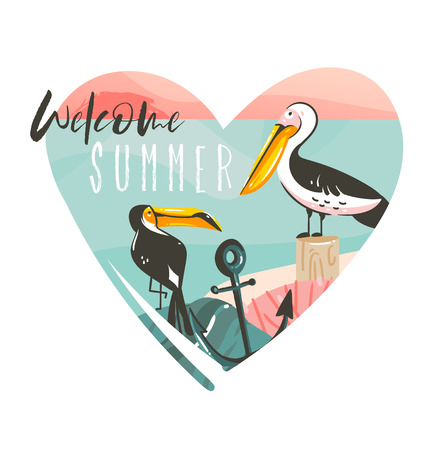 Hand drawn vector abstract cartoon summer time beach graphic illustrations template logo background in heart shape with ocean beach landscape,toucan,pelinan birds,and Welcom Summer typography text