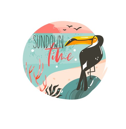 Hand drawn vector abstract cartoon summer time graphic illustrations template background badge design with ocean beach landscape,pink sunset and beauty toucan bird with Sundown time typography text Ilustrace