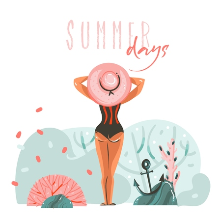 Hand drawn vector abstract cartoon summer time graphic illustrations template cards with girl on beach scene and modern typography Summer days isolated on white background Illustration