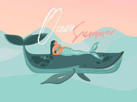 Hand drawn vector abstract cartoon summer time graphic illustrations template card with mermaid girl,whale on blue waves and modern typography Ocean Summer isolated on pink sunset background