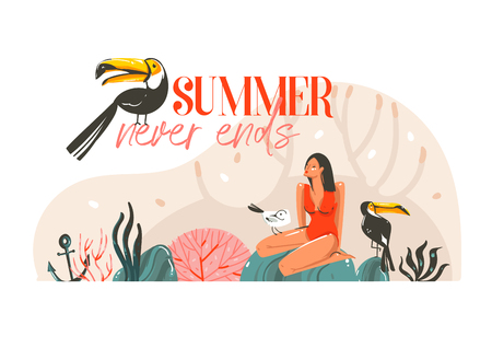 Hand drawn vector abstract cartoon summer time graphic illustration template card with girl,toucan birds on beach scene and modern typography Summer never ends isolated on white background