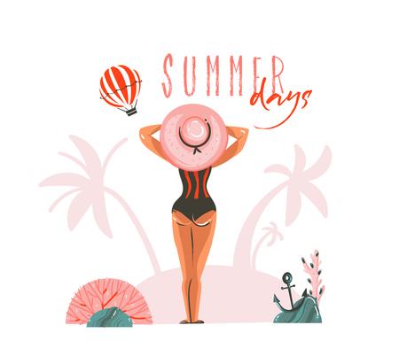 Hand gezeichnete Vektor abstrakte Karikatur Sommerzeit Grafik Illustrationen Vorlage Karte mit Mädchen auf Strandszene und moderne Typografie Sommertage isoliert auf weißem Hintergrund