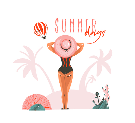 Hand drawn vector abstract cartoon summer time graphic illustrations template card with girl on beach scene and modern typography Summer days isolated on white background