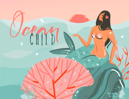 Hand drawn vector abstract cartoon summer time graphic illustrations art template background with ocean sunset scene,beauty mermaid girl and Ocean Child typography quote isolated on blue waves.
