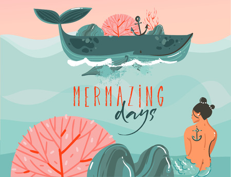 Hand drawn vector abstract cartoon summer time graphic illustrations art background with ocean beach landscape,big whale,sunset scene and beauty mermaid girl with Mermazing days typography quote.
