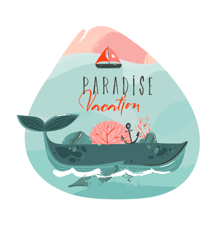 Hand drawn vector abstract cartoon summer time graphic illustrations art template print logo background with beauty big whale,sail and Paradise Vacation typography text isolated on white