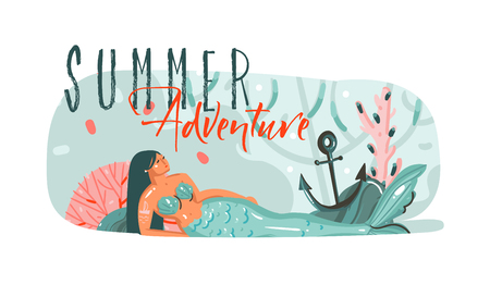 Hand drawn vector abstract cartoon summer time graphic underwater illustrations art template background with ocean bottom,beauty mermaid girl and Summer Adventure typography text isolated on white Stock Photo