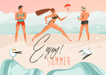 Hand drawn vector abstract cartoon summer time graphic illustrations art template background with beach landscape,pink sunset,boys and running girl on beach scene with Enjoy Summer typography quote.
