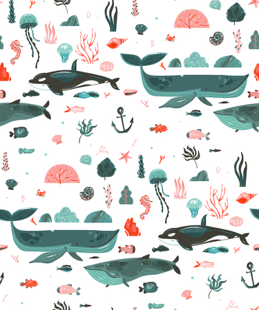 Hand drawn vector abstract cartoon graphic summer time underwater ocean bottom illustrations seamless pattern with coral reefs,beauty big whales,seaweeds isolated on white background
