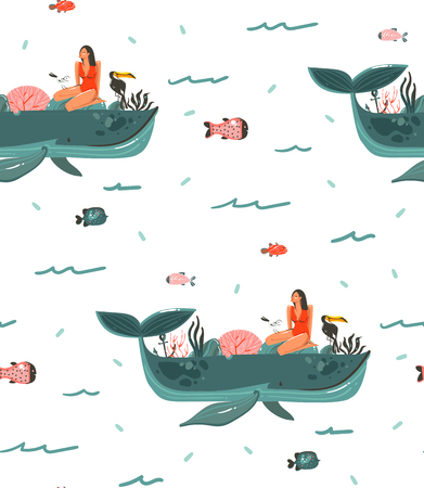 Hand drawn vector abstract cartoon graphic summer time underwater ocean bottom illustrations seamless pattern with girl coral reefs,beauty big whales,seaweeds isolated on white background