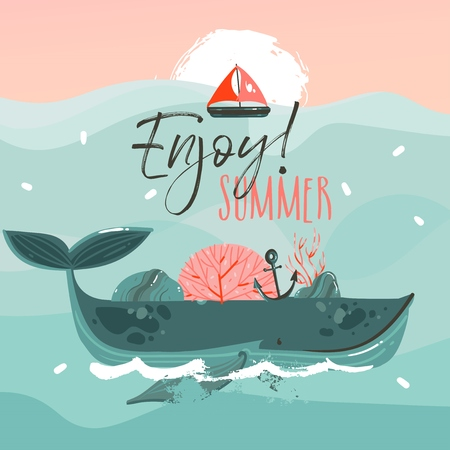 Hand drawn vector abstract cartoon summer time graphic illustrations art template print background with beauty whale in ocean waves,sail,sunset scene isolated on blue background Reklamní fotografie