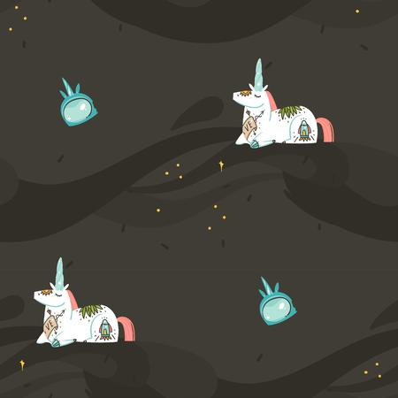 Hand drawn vector abstract graphic creative cartoon illustrations seamless pattern with cosmonaut unicorns with old school tattoo,spaceship and planets in cosmos isolated on black background.