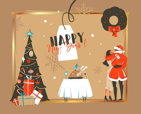Hand drawn vector abstract Happy New Year time cartoon illustrations retro card with romantic couple who kissing and hugging under the mistletoe,xmas tree and dinner table isolated on craft background Ilustrace