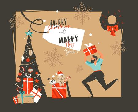 Hand drawn vector abstract Happy New Year time cartoon illustrations retro card with xmas tree,surprise gift boxes,mammal dog and funny man isolated on black background. Ilustração