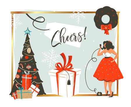 Hand drawn vector abstract Merry Christmas and Happy New Year time retro vintage cartoon illustration greeting card with beautiful woman in dress gift box isolated on white background.