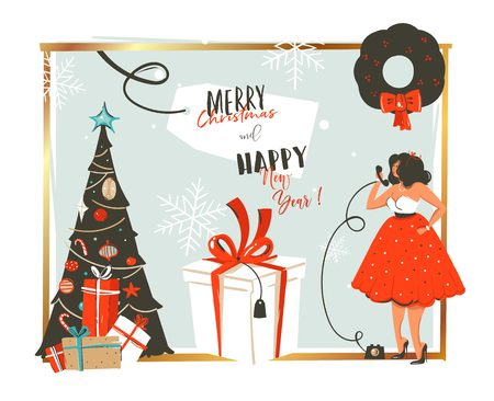Hand drawn vector abstract Merry Christmas and Happy New Year time retro vintage cartoon illustration greeting card with beautuful woman in dress and gift box isolated on white background.
