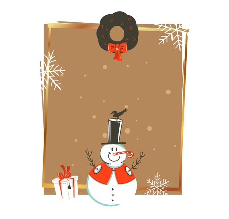 Hand drawn vector abstract Merry Christmas and Happy New Year time vintage cartoon illustrations greeting card template with snowman and gift box isolated on white background.