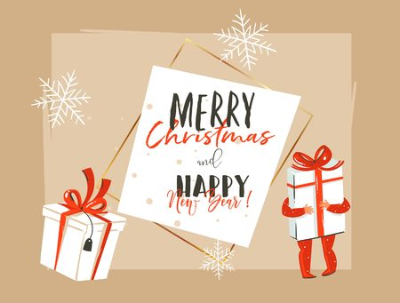Hand drawn vector abstract Merry Christmas and Happy New Year time vintage cartoon illustration greeting card header template with little boy kid who holding big gift box isolated on white background.