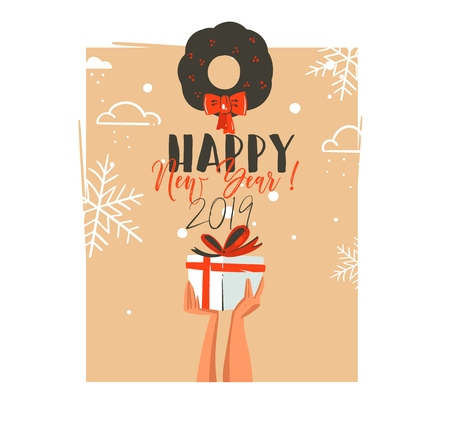 Hand drawn vector abstract Merry Christmas and Happy New Year time retro cartoon illustrations greeting card with people hands who holding surprise gift box and mistletoe isolated on blue background. Ilustração