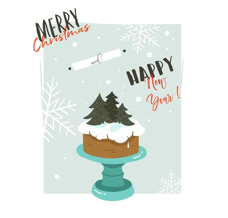 Hand drawn vector abstract Merry Christmas and Happy New Year time retro cartoon illustrations greeting card with cake stand design and modern typography isolated on white background.