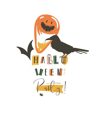 Hand drawn vector abstract cartoon Happy Halloween illustrations party poster and modern calligraphy isolated on white background.