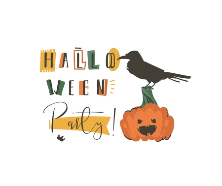 Hand drawn vector abstract cartoon Happy Halloween illustrations party poster with pumpkin and modern calligraphy isolated on white background.