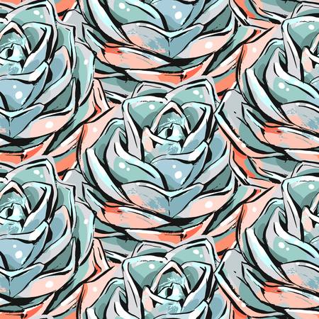 Hand drawn vector abstract ink brush grunge drawing textured crafted decoration succulent cacti flowers seamless pattern isolated on white background