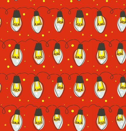 Hand drawn vector abstract fun Merry Christmas time cartoon rustic festive seamless pattern with cute illustrations of lights bulb garland isolated on red background.