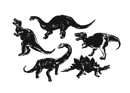 Hand drawn vector abstract ink brush grunge drawing textured crafted silhouette decoration illustrations collection set of dino isolated on white background.