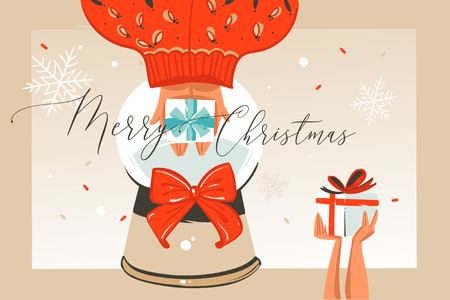 Hand drawn vector abstract fun Merry Christmas time cartoon illustration greeting card with people hands,surprise gift boxes and xmas calligraphy isolated on craft background. Illustration