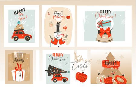 Handgezeichnete Vektor abstrakten Spaß Frohe Weihnachten Cartoon Illustrationen Grußkarten und Hintergründe Sammlung mit Geschenkboxen, Weihnachtsbaum und Kalligraphie auf Handwerk Hintergrund isoliert. Vektorgrafik