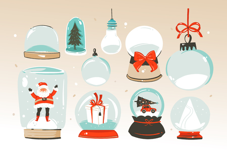 Hand drawn vector abstract Merry Christmas and Happy New Year time big cartoon snow globe sphere illustrations collection set isolated on white background