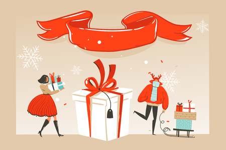 Hand drawn vector abstract fun Merry Christmas time cartoon illustration greeting card with happy xmas market people and red ribbon with copy space place isolated on craft background