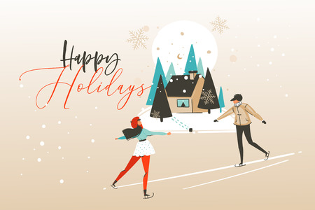 Hand drawn vector abstract fun Merry Christmas time cartoon illustration greeting card with happy xmas girl and boy ice skating in the forest with Happy holidays text isolated on craft background. Illustration