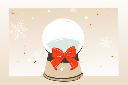 Hand drawn vector abstract fun Merry Christmas time cartoon illustration greeting card with glass snow globe sphere and copy space place for your text isolated on craft background.