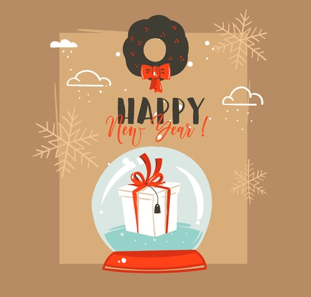 Hand drawn vector abstract Merry Christmas and Happy New Year time retro vintage cartoon illustrations greeting card with snow sphere globe and mistletoe isolated on brown background.