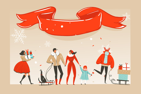 Hand drawn vector abstract fun Merry Christmas time cartoon illustration greeting card with happy xmas market people and red ribbon with copy space place isolated on craft background.