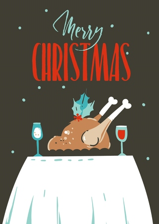 Hand drawn vector abstract fun Merry Christmas time cartoon illustration greeting card with happy holiday traditional dinner and Merry Christmas text isolated on craft background.