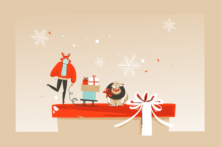 Hand drawn vector abstract fun Merry Christmas time cartoon illustration greeting card with happy xmas market people,dog and copy space place for your text isolated on craft background.