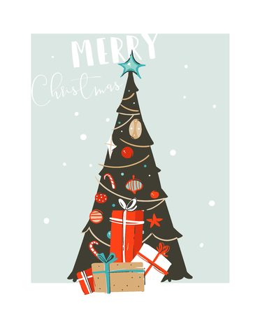 Hand drawn vector abstract fun Merry Christmas time cartoon illustration card with xmas tree and Christmas surprise gift boxes isolated on blue background