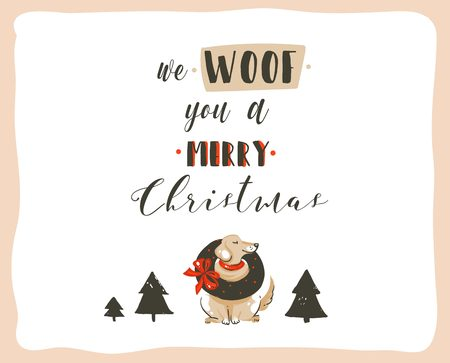 Hand drawn vector abstract fun Merry Christmas time cartoon illustrations poster with xmas dogs and modern handwritten calligraphy text We Woof you a Merry Christmas isolated on white background. Vectores