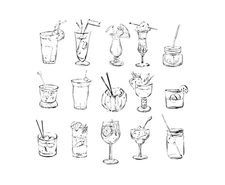 Hand drawn vector abstract ink graphic brush textured sketch drawing big collection set with alcoholic cocktails isolated on white background